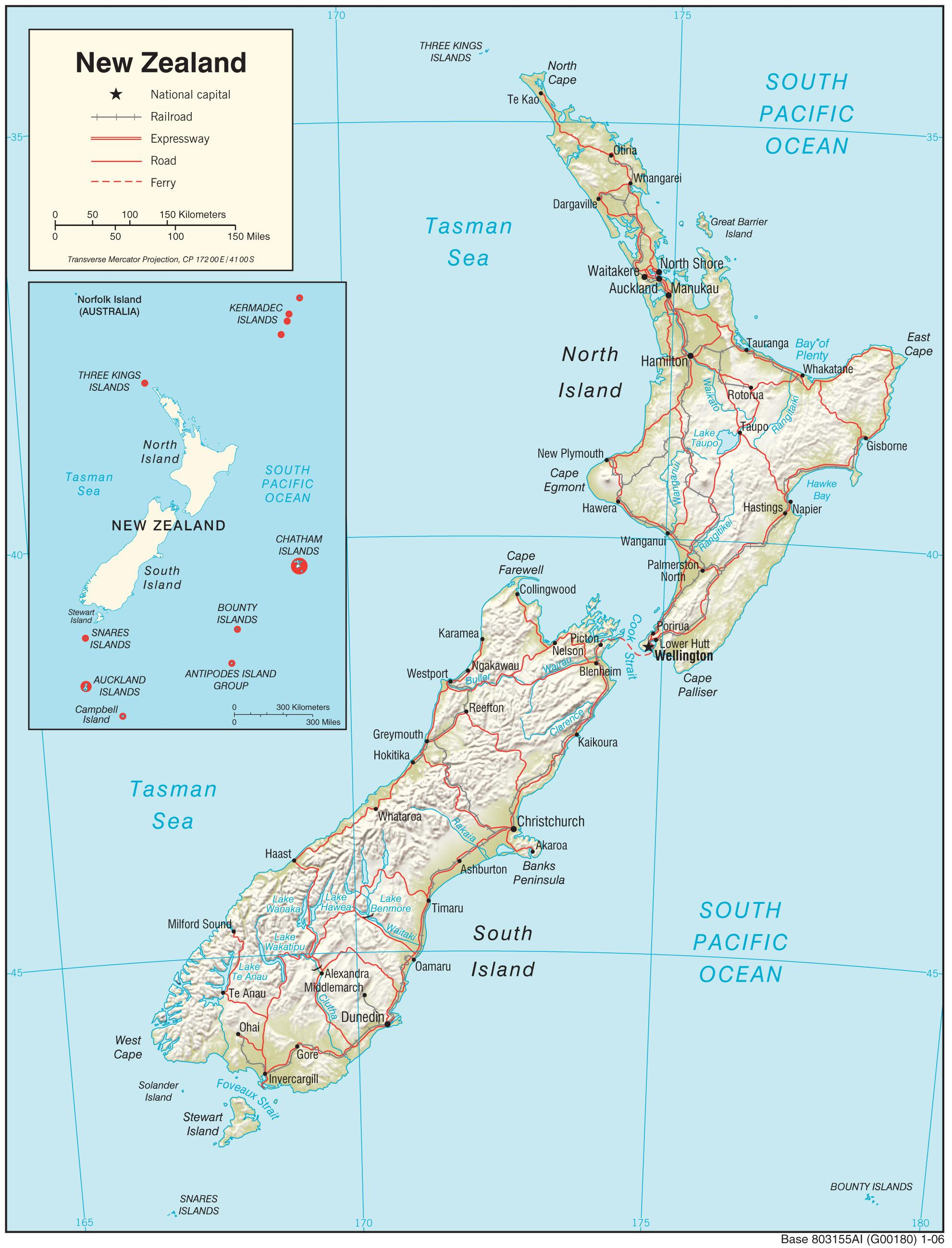 Map Of New Zealand And Surrounding Islands.Map Of New Zealand North Island With Distance Map Of New Zealand