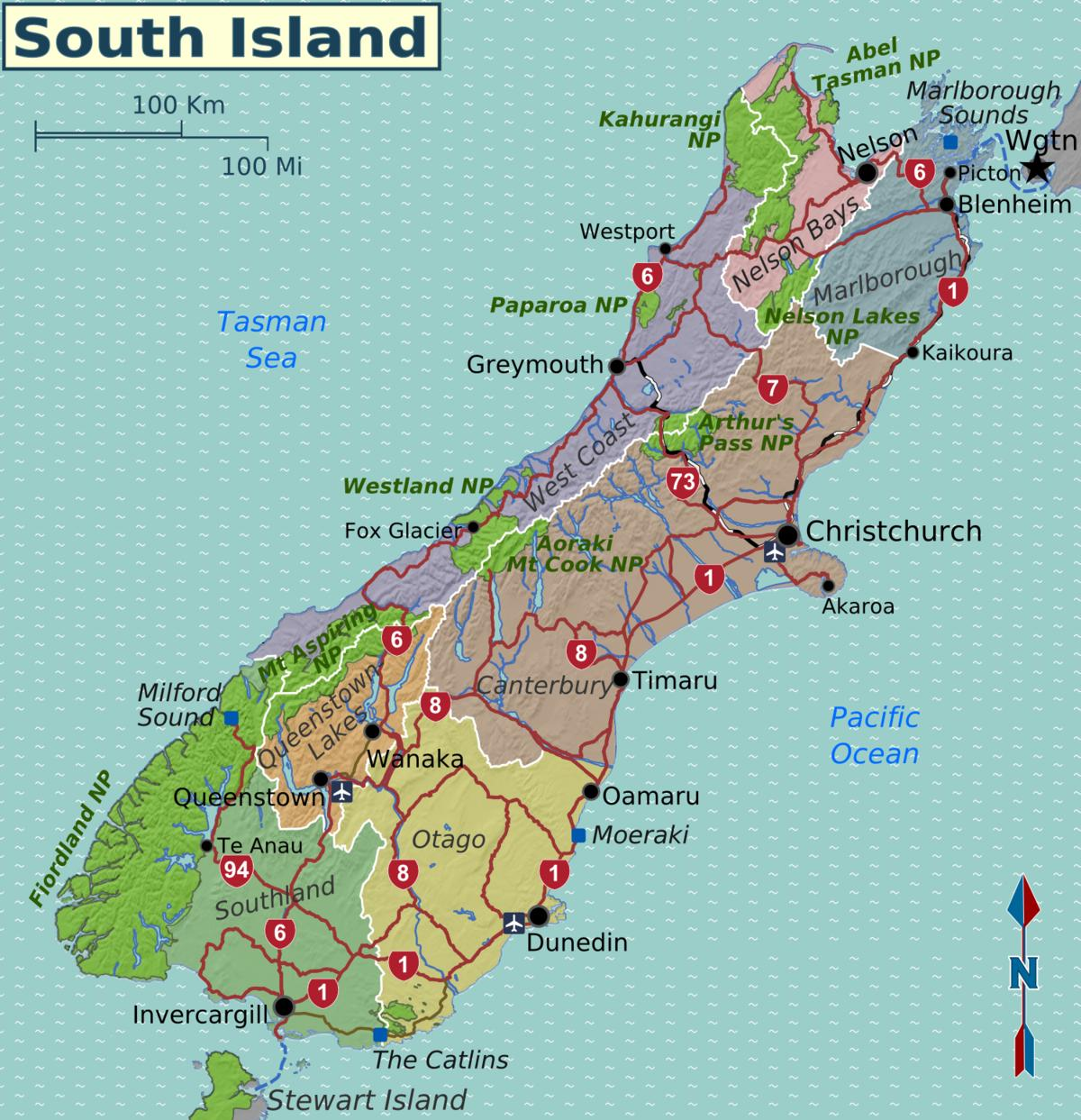 New Zealand Regions Map.Map Of South Island New Zealand Regions Map Of South Island New