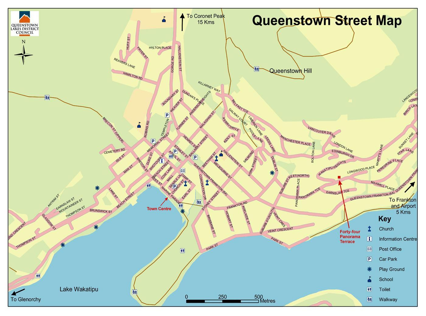Street Map Australia.Queenstown New Zealand Map Street Map Of Queenstown New Zealand