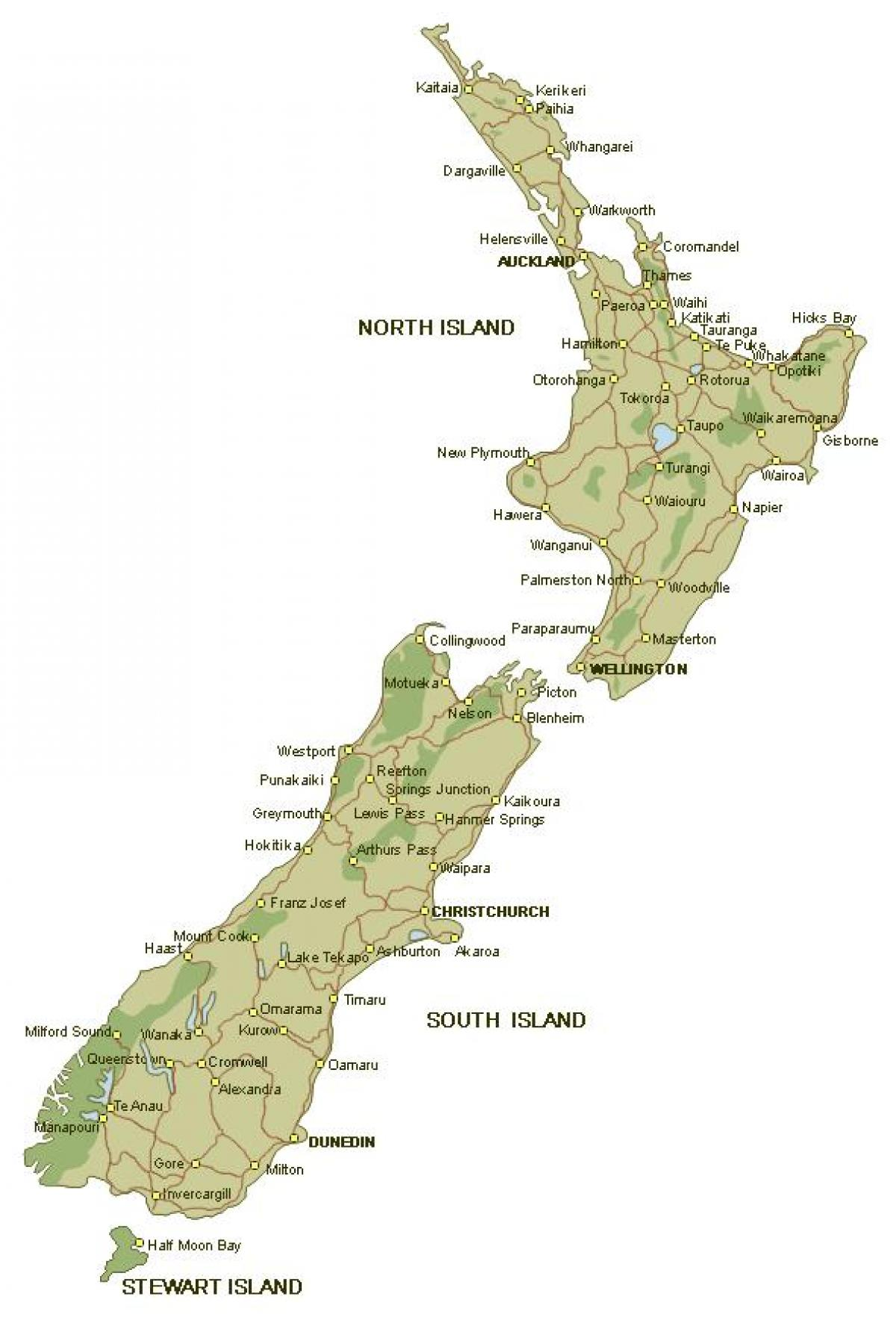 Detailed map of new zealand - Map of detailed new zealand (Australia ...