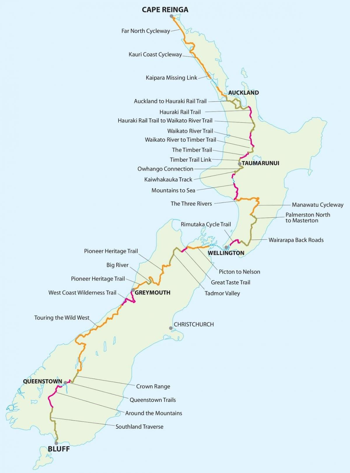 New zealand cycle trail map - Map of new zealand cycle trail ... on jefferson trail map, franconia ridge trail map, nelson trail map, ethan pond trail map, bristol trail map, china trail map, peru trail map, victoria trail map, turkey trail map, austria trail map, galehead trail map, tobago trail map, germany trail map, flume trail map, mexico trail map, fredericton trail map, liberty trail map, jamaica trail map,