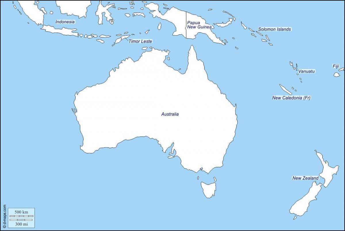 Map Of Australia Nz.New Zealand Map Outline Outline Map Of Australia And New Zealand