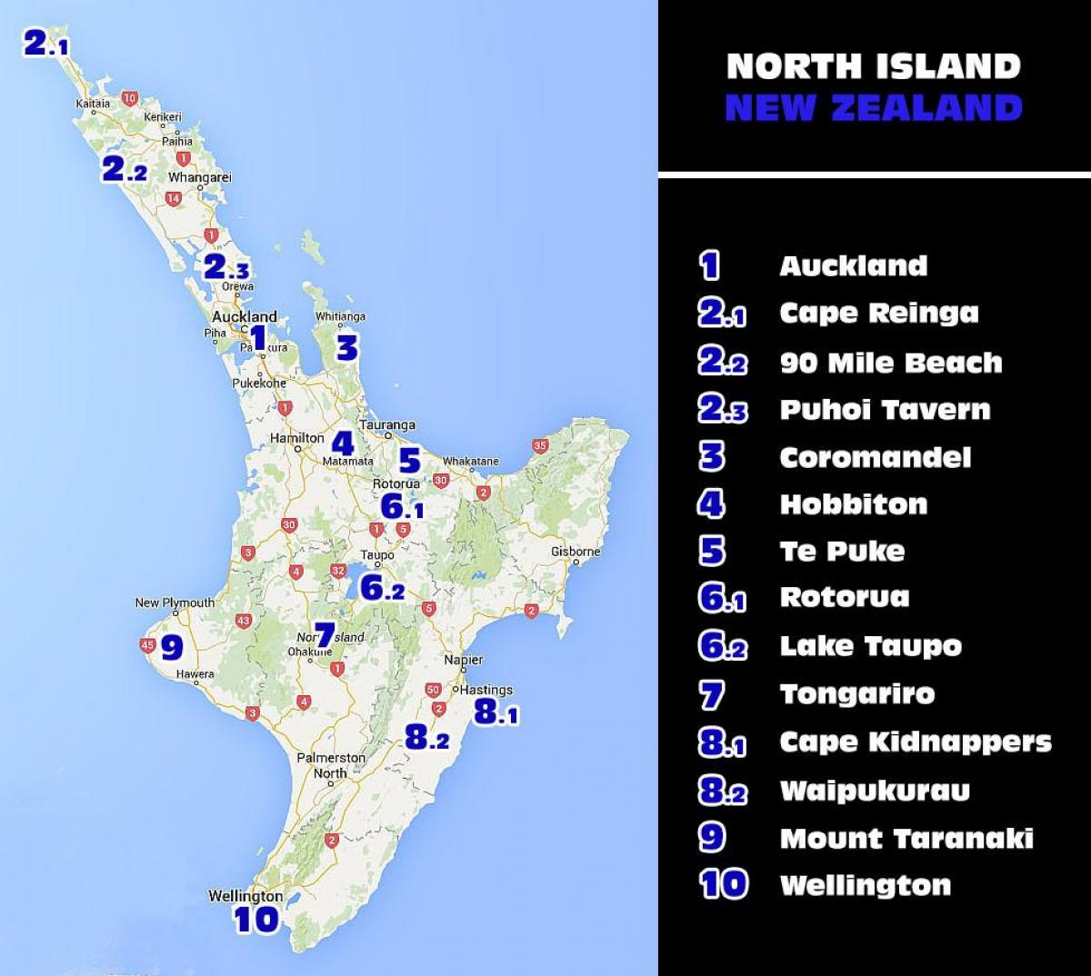New Zealand Tourist Map North Island.New Zealand North Island Attractions Map Map Of New Zealand North