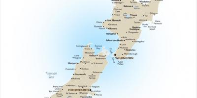 Map of new zealand with major cities