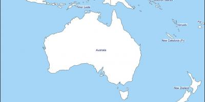 Outline map of australia and new zealand